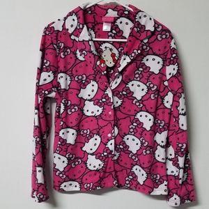 💗🐈 Hello Kitty fleece pajama top women's M